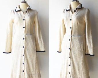 Vintage Cream Wool Dress / Button Up Dress / Size M