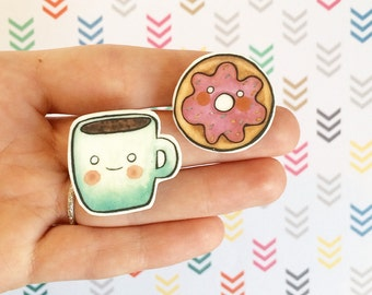 Coffee and Doughnut Brooch pack Best Friend Brooches. BFF  Pin Coffee Pin Doughnut pin Brooch set