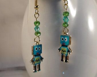 Robot Earrings, Gold Robot Earrings, Swarovski crystal earrings, Enemal Robot Charm Earrings, Blue Green Earrings, Science & Tech Earrings