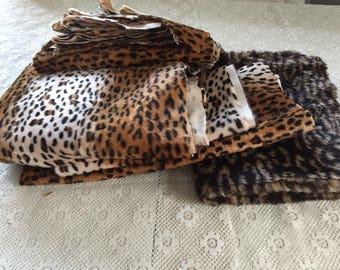 Beautiful Assortment of Leopard Print Fabric Remnants / Faux Fur Remnant