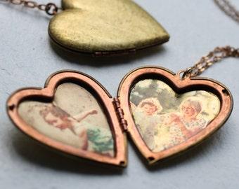 Personalized Heart Locket, Photo Jewelry, Vintage Locket, Engraved Locket, Customized Pendant, Personalised Necklace