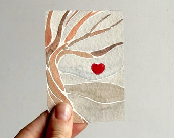 watercolor aceo red heart modern tree small painting