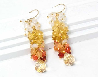 Mexican Fire Opal earrings - Dangle cluster of Mexican Fire Opal and Citrine drop earrings, Handmade gemstone Jewelry, Gift for Her