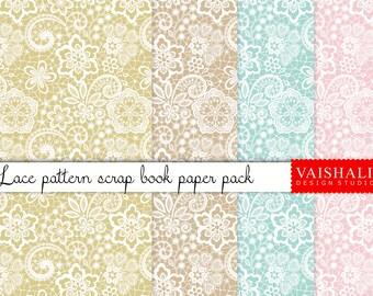 LACE PATTERN, pastel colour, seamless pattern, 5 sheets, digital print downloads