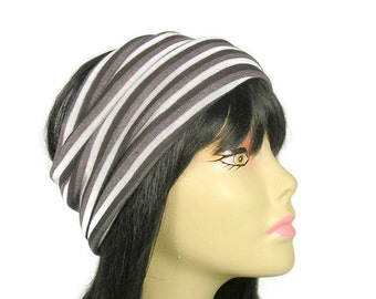 Lightweight Brown Sweater Knit Head Wrap for Men Head Wrap for Women Brown and White Head Wraps Striped Head Wraps Unisex Brown Head Wraps