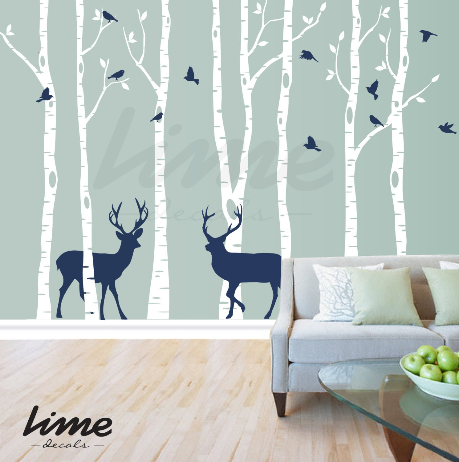 Birch Tree Deer Wall Decal Forest Birch Trees Birch Trees