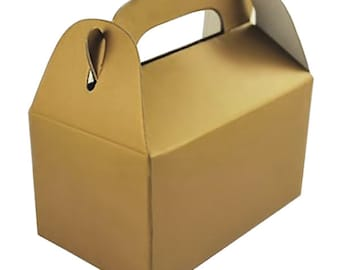 Gold Cardstock Favor Boxes - Set of 6 - 3 x 1.75 x 3 Inches - for Party Favors, Showers, Weddings and More
