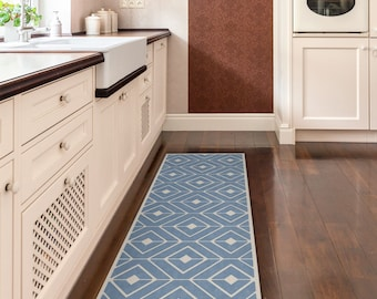 Ordinaire Blue Kitchen Mat, Vinyl Runner Rug, Printed On PVC. Runner Rug, With Modern  Pattern // Vinyl Floor Mat // Door Mat // Bath Mat // Area Rug.