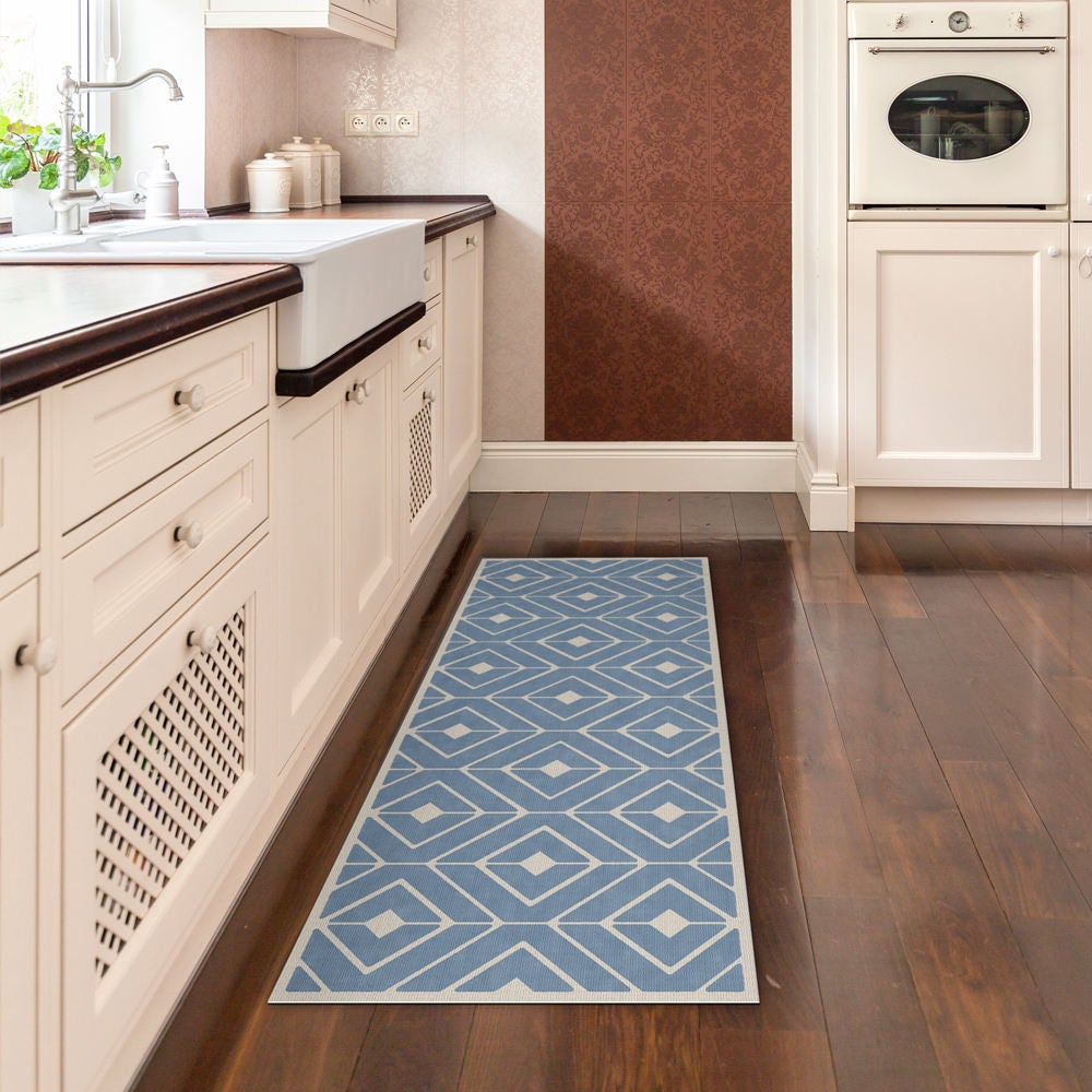 Blue Kitchen Mat Vinyl Rug Printed On PVC. Linoleum Rug With