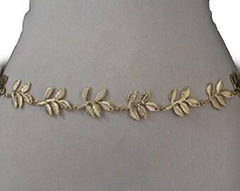 New Women Gold color Metal Fashion Belt Narrow Waistband Bling Leaf Flower Leaves Charm Hip High Waist Size S M L