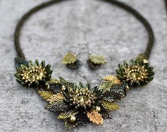 Scarabaeus Kanzashi - OOAK beadwoven set of jewelry