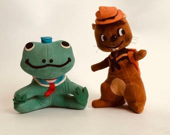 Vintage Pair of Dakin Dream Pets, Eager Beaver and Jumpin Jacques, 1960s R. Dakin Plush, Sawdust Stuffed Animals, Vintage Toys