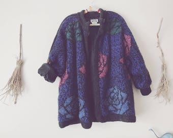Floral Wool Cardigan Jacket
