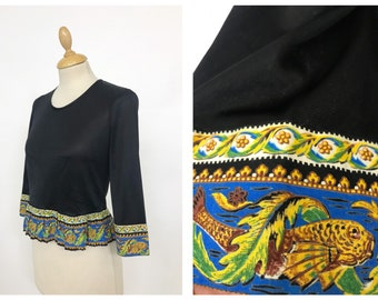Vintage 1970s black jersey and fishes print details blouse shirt - size S