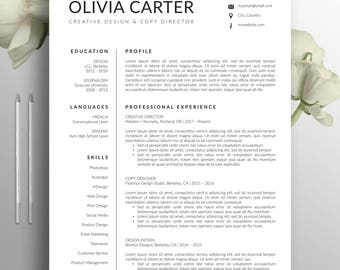 Modern Resume Template, Cover Letter, Word, Mac, US Letter, A4, CV Template, Creative Resume, Professional Resume, Instant Download, Olivia