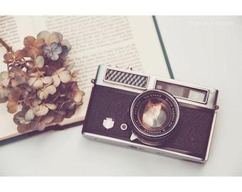 Still Life Photography Book Print Vintage Camera Photographer Hydrangea Flowers Floral Blue Rustic Home Decor Reading Dreamy Fine Art Print
