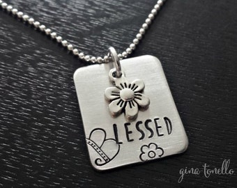 Blessed Necklace, Gift for Her, Mom Jewelry, Religious Necklace, Blessed Jewelry, Blessed Charm, Flower Charm, Spiritual Necklace