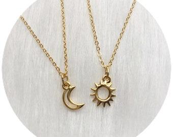 Moon and Sun friendship necklaces, Dainty, Minimalist Jewelry