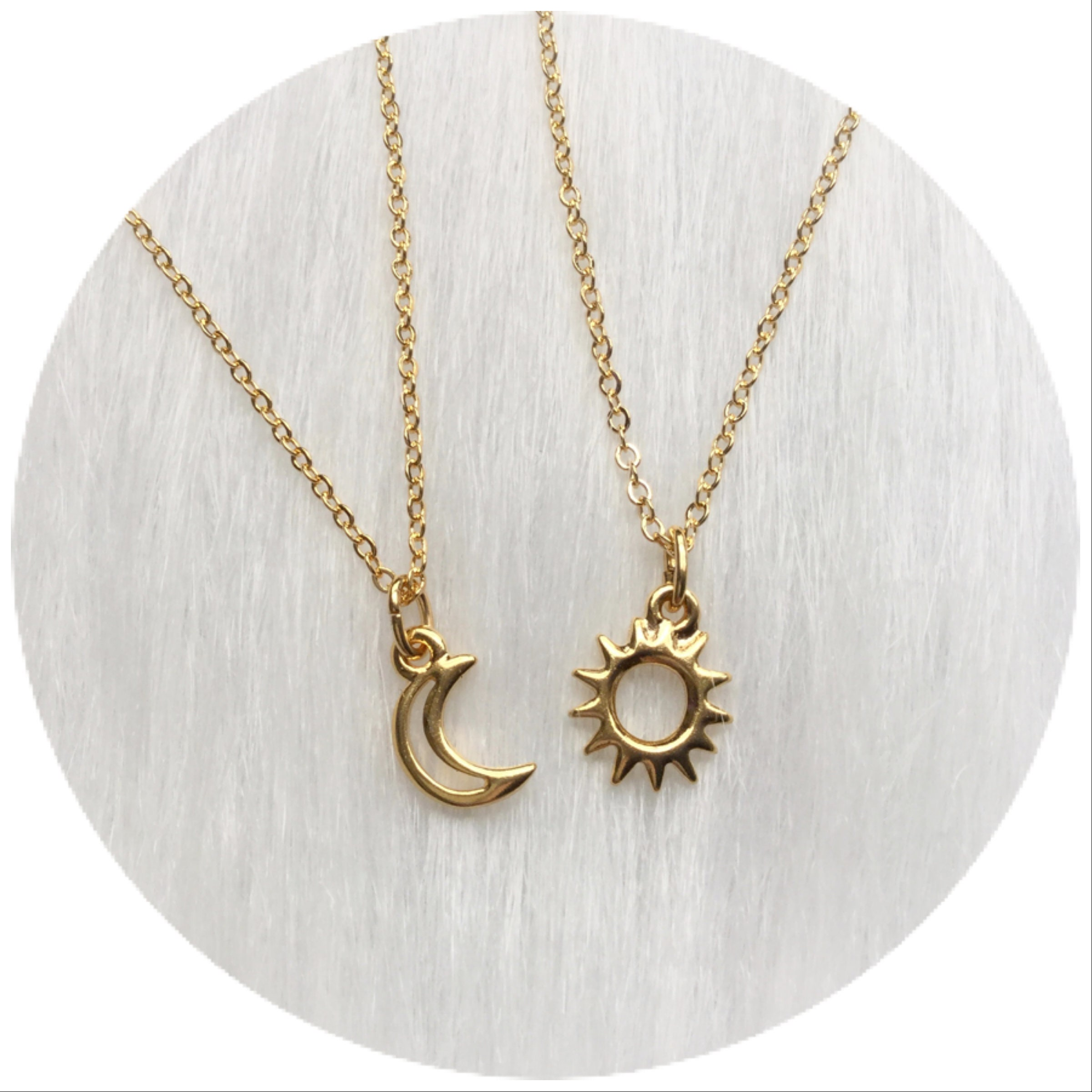 dipped let necklace light gold sun shine moon your charm bright