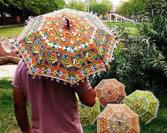5 Pcs Lot Indian Decorations Umbrella Embroidered Wedding Event Decor Vintage Parasols New Designer Sun Protective Beach Canopy Gift For Her