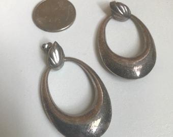 Silver Minimalist Hoop and Leaf Earrings