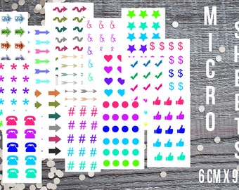 Miscellaneous Planner Sticker-Micro Planner Sticker Set for Micro Binders-Tiny Stickers Compatible with Most Planners-Set of 15 Micro Sheets
