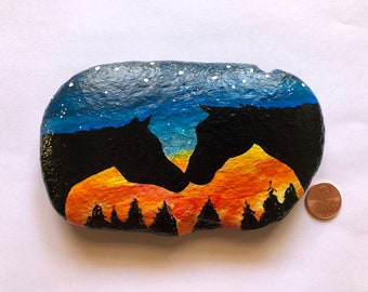 Hand Painted Horses at Sunset Equestrian Silhouette Rock Stone Art Gift Paperweight Decor