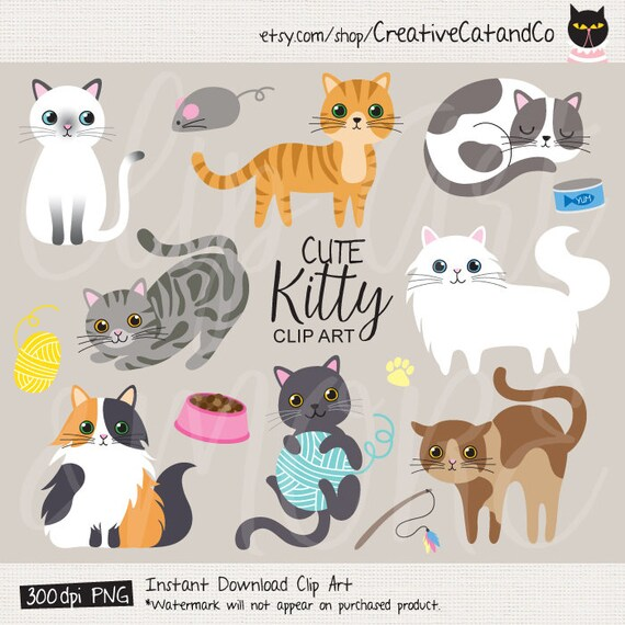 Cat Clip Art Cute Cat Clipart Kitten Kitty Clipart Cat Graphic