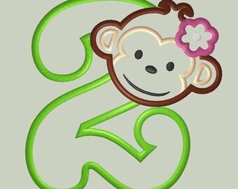Mod Monkey Girl Applique Design with Number 2
