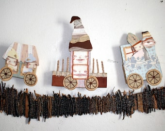 Witch Train Paper sculpture mixed media children's room wall hanging