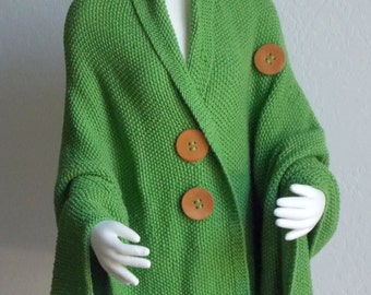 Hand Knit Shawl -  Cape - Wrap Lime Green Bead Stitch Handmade Plus Sizes Available