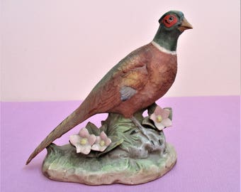 Charming Pheasant Figurine Large Vintage Homeco Ceramic Sculpture Wild Woodland Bird Nature Figural Home Decor Nursery Children's Room