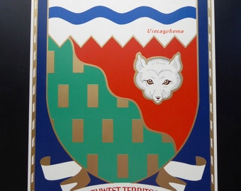 Poster. Province Canada coat of arms. The Northwest Territories. Northwest Territories. Heraldry. Emblem. Fox head. Shield. Poster