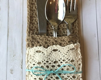 Burlap & Lace Table Accessory~silverware holder set of 4~Crocheted
