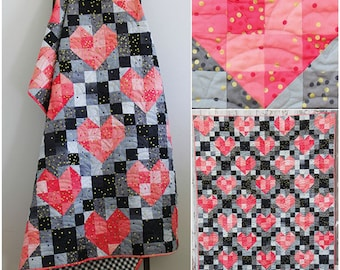 Heart String quilt pattern, V and Co Quilting Patterns, Heart Decor, Ombre Confetti, Modern Quilt, Teen Decor, Baby Quilt,