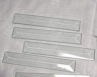 Super Long ((( 10 Pack ))) of 1 x 8 inch Clear Glass Pencil Bevels - Flat On Back for Ornaments, Solder Art, or Stained Glass Frame
