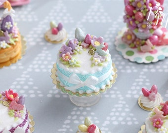 Handmade Miniature Easter Cake Decorated with Eggs, Rabbits, Flowers - (C - Aqua/Purple) - Miniature Food in 12th Scale for Dollhouse