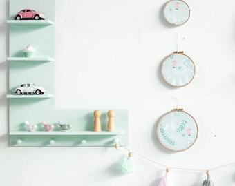 Mint wooden letter shelf room wall decoration kids interior design plywood
