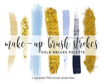 Handpainted brush strokes // watercolor brush stroke // acrylic brush clip art // gold brush strokes // blue brush strokes