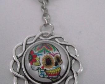 flower skull keyring
