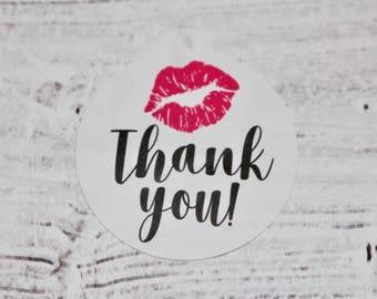 Circle Thank you with Kiss | LipSense stickers | Thank you stickers | Kisses | LipSense