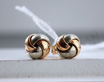 Yellow and White Gold 19.2K Earrings From Portugal Knot
