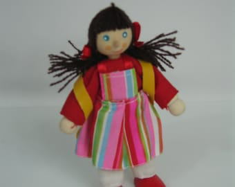 Wooden Doll House Girl
