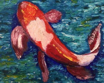 Original Oil Painting Finger painting Koi