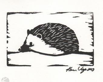 Hedgehog cute animal woodland linocut hand pulled print 5 x 7 Paper option