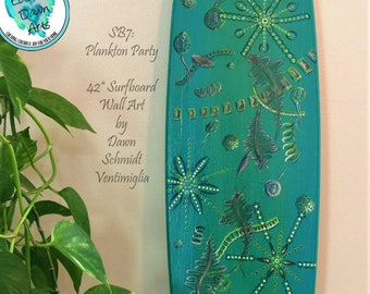 "Plankton Party Surfboard, 42"" Wall Art, Free Shipping, Teal, Green, Blue, #SB7"
