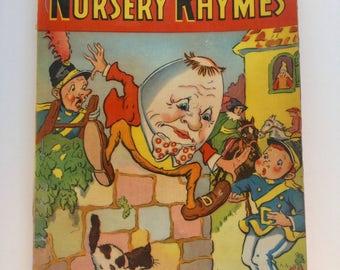 Vintage 1942 Classic NURSERY Rymes Laminated Book