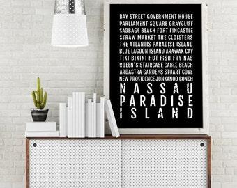 Nassau Print, Paradise Island Poster, Bahamas Wall Art, Décor, Canvas, Gift, Bus Scroll, Typography, Minimal, Custom, Personalized