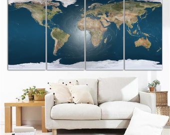 2 panel split vintage world map canvas print old world map 4 panel split world map canvas print texture digitally applied photograph for home office wall decor interior design great holiday gift gumiabroncs Image collections