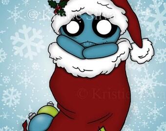 Stocking Stuffer 8x10 digital art print by Kristie Silva skull snowflake monster unluckable creature